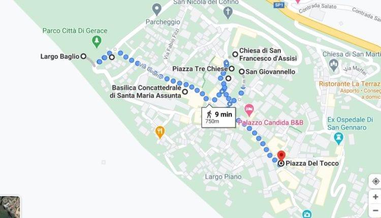 Mapa de Gerace centro historico